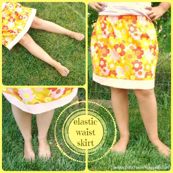 Gathered Skirt in Floral Print with Elastic Waistband and A Contrasting Hemline