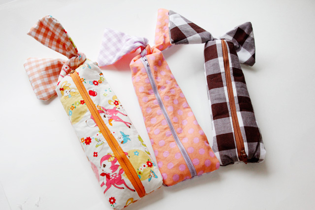 Exclusive Knotted Zipper Pencil Pouch in Wonderful Gingham Style