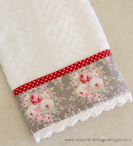 DIY Guest Towel Decor Craft with Crochet Trim and Trendy Lacy Ends