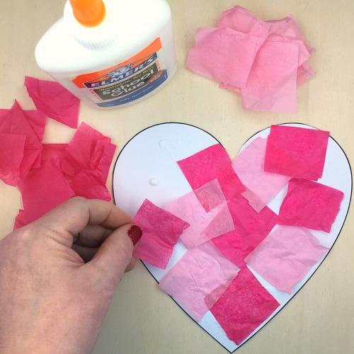 Super Simple DIY Tissue Paper Heart Project for Preschoolers