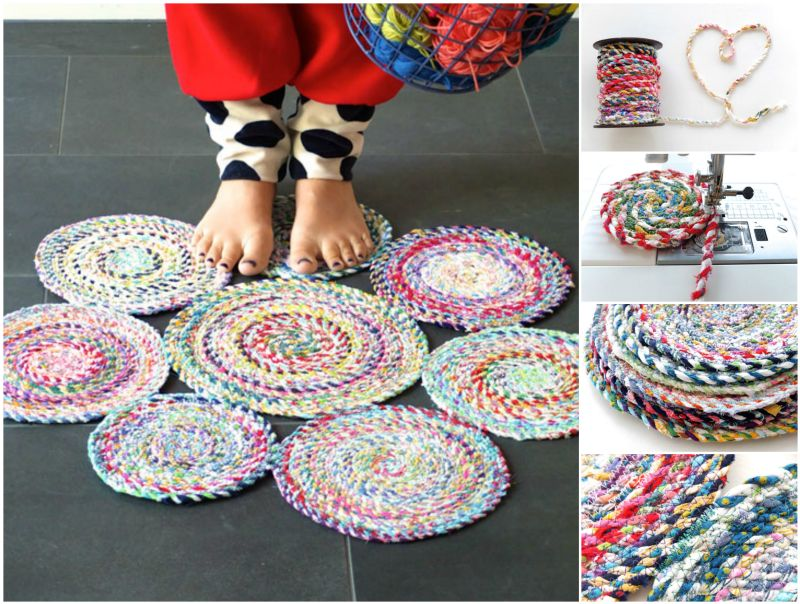 DIY Scrap Fabric Craft: Pretty-Looking Spiral Mat from Colorful Fabric Twine