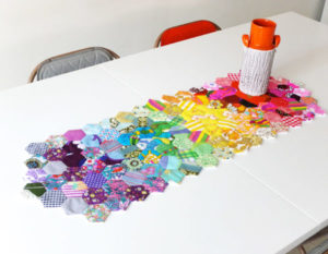 Bold Multicolored Hexagon Table Runner from Cotton Quilt Wadding