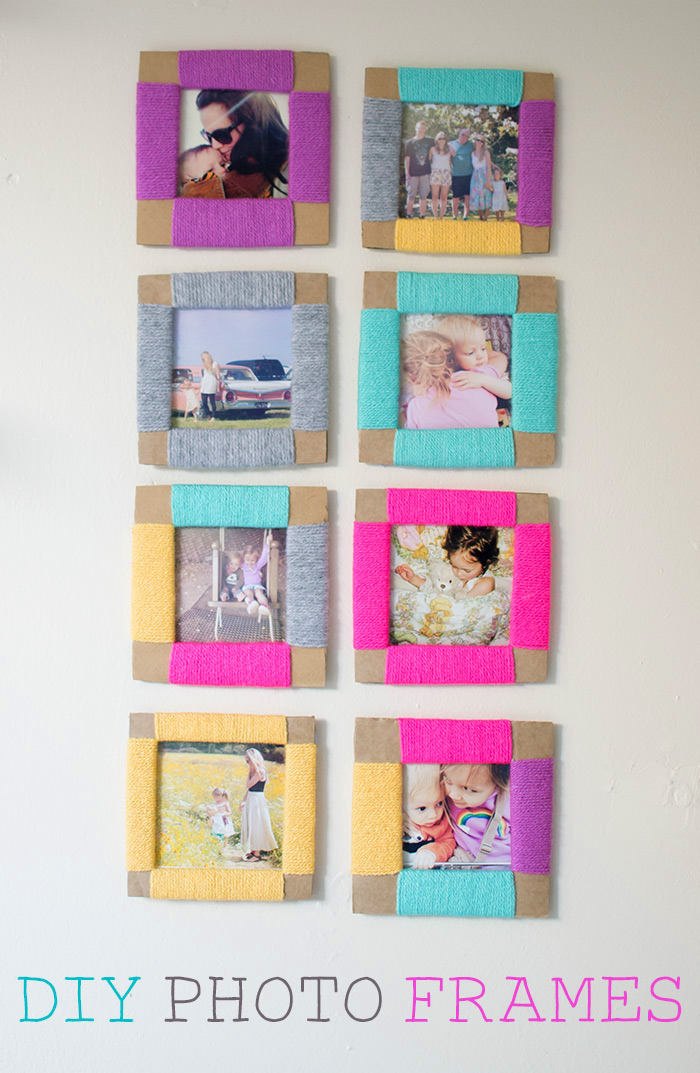 Simple Square Cardboard Photo Frame with Yarn Decoration