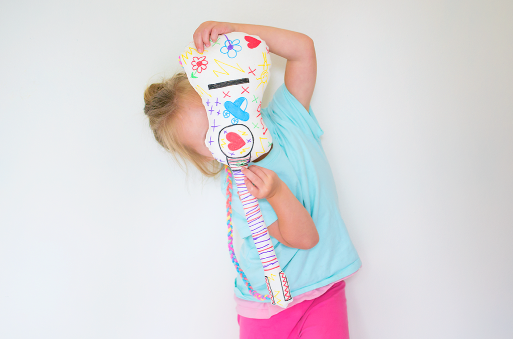 Easy Tutorial of Graffiti Covered Stuffed Toy Guitar with Toy Stuffing Inside Fabric Pens
