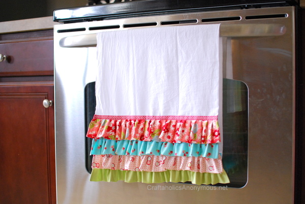 Super Chic Ruffled Tea Towel Out of Vibrant Fabric Scraps Over White Towel