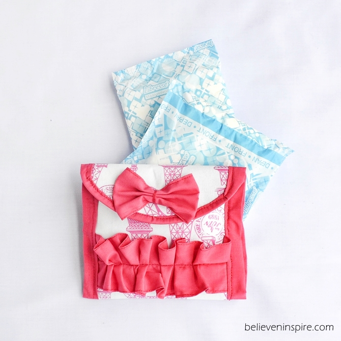 DIY Sanitary Napkin Pouch in Sewn Patterned and Scrappy Ruffled Fabric Design