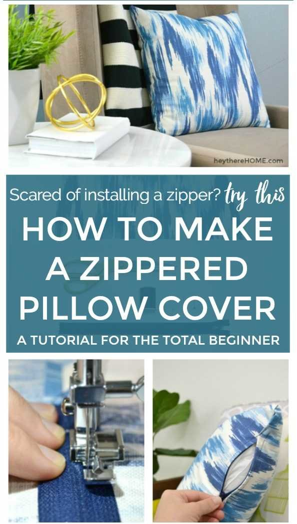 Tutorial of Simple Zipper Pillow Case with a Unique Side Closer Style