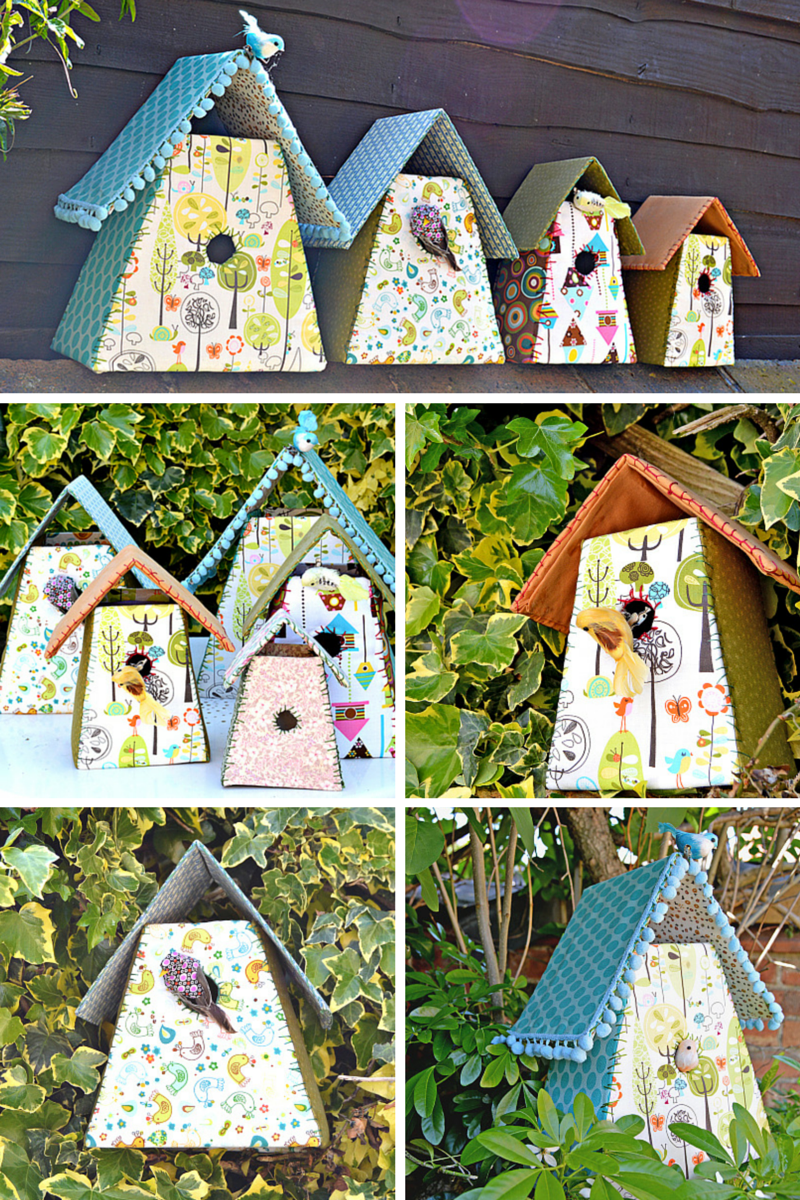 Gorgeous Fabric Birdhouses with Pom-Pom Decor For A Classy Home Interior