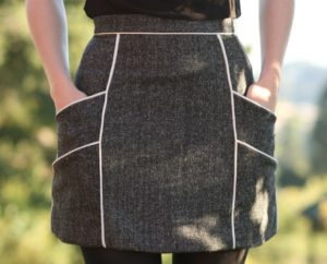 Unforgettably Chic Chalk Lines Skirt with Side Piping Pockets and a Back-Zip Pattern