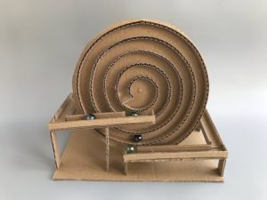 Spiral Marble Machine Playing Object out of hard Cardboard Box