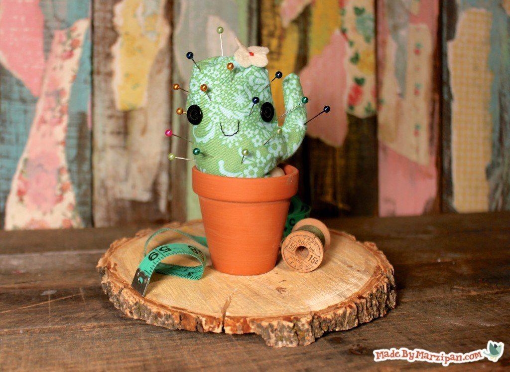 DIY Pincushion: Adorable Fabric Cactus Craft Idea from Seams And Scissors