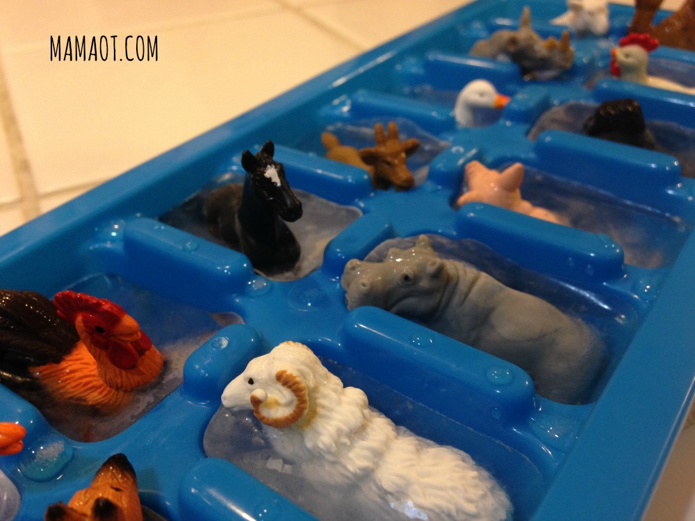 Ice Cube Tray with Miniature Animals for Learning Fine Motor Development