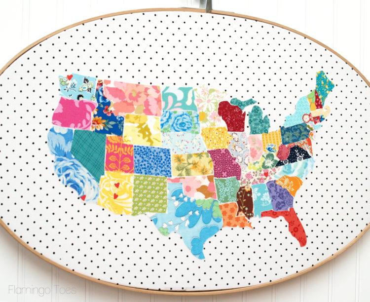 Huge Fabric US Map Hoop Art: DIY Totally Sewed Wall Decor