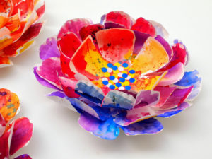 Hyper Colorful Painted Paper Plate Spring Flowers