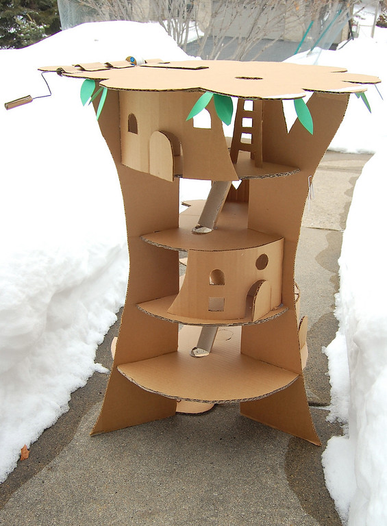 The Faraway Tree with Cardboard in The Form of Typical Tree House