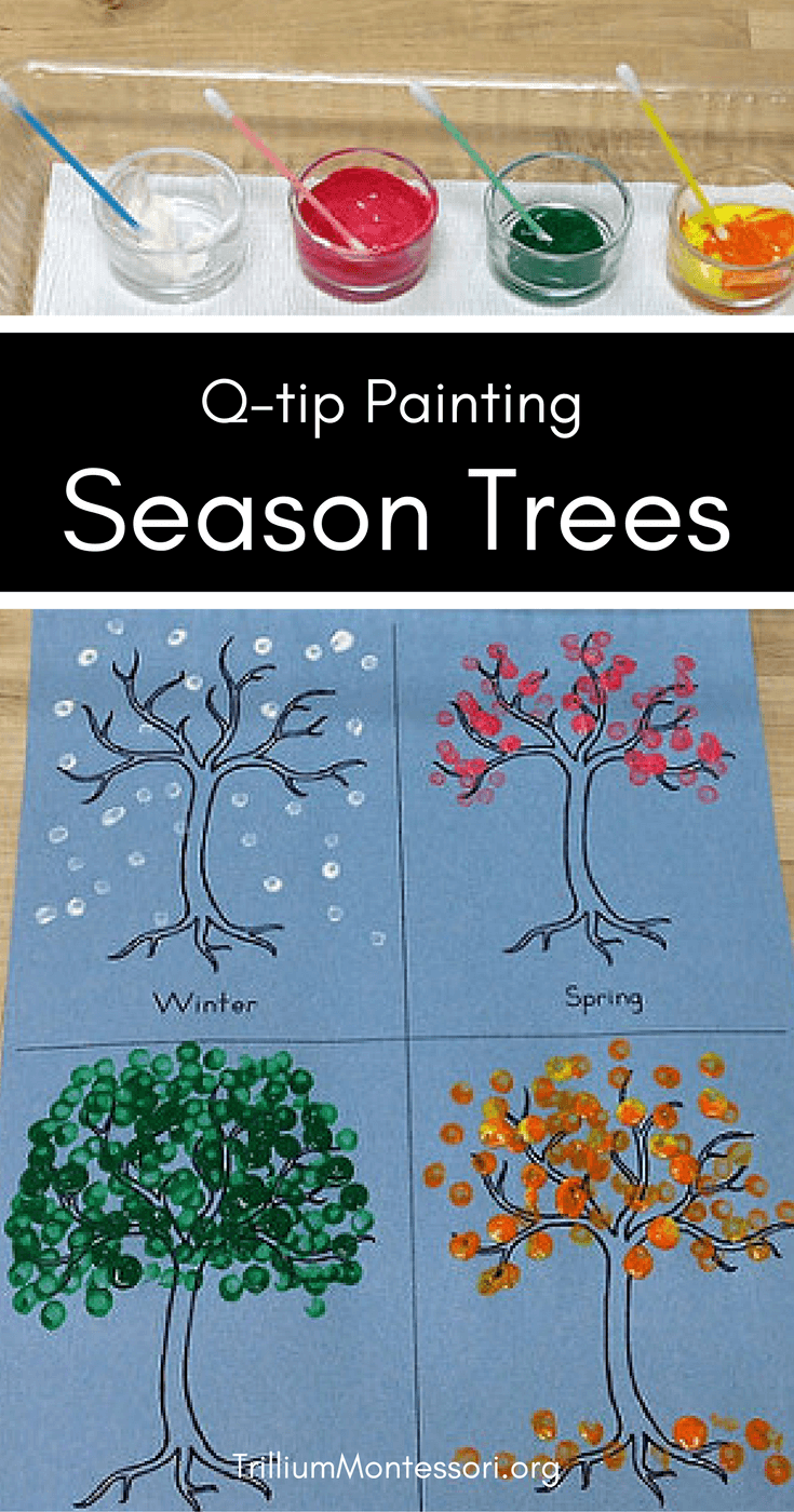 Q-Tip Season Tree Painting Idea for Toddlers