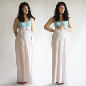 Jersey Maternity Maxi skirt with Comfy Gripping and in Subtle Cream Shade