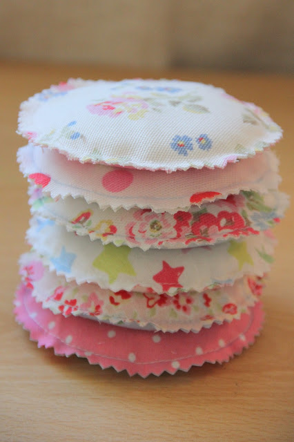 All Sewed Pocket Warmer from Fabric Scraps in Pretty Round Shapes