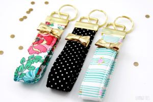Kate Spade Inspired Key Fobs with Metallic Pillars and Pretty Golden Bow Embellishments
