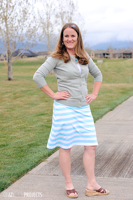 Knee Length Skirt Tutorial: A Free Skirt Made of Stretchable Knit Fabric with Color Stripe Style