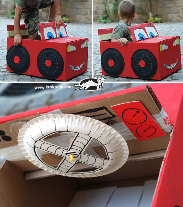Adorable Lightning McQueen: You Own DIY Cardboard Car
