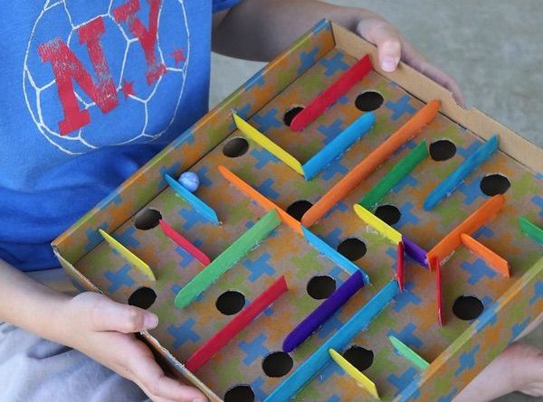 DIY Marble Maze with Empty Cardboard Box and Popsicle Sticks