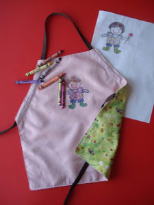 Reversible Children's Apron with Fabric Crayon Painting Style