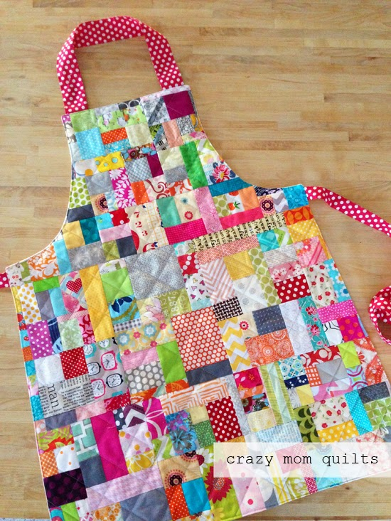 Scrappy Quilted Apron with Colorful Scrap Fabric Pieces and Ribbon Ties