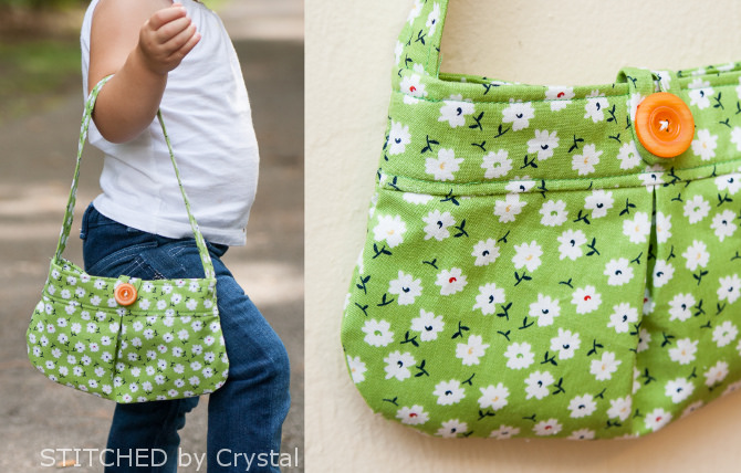 DIY Little Girl Pleated Purse with A Bold Button Closer