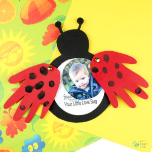 Creative Love Bug Handprint Card for Mother's Day in Ladybug Shape