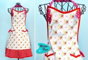 Retro Style DIY Apron with Lovely Vintage Touch and a Catchy Red-&-White Color Accent