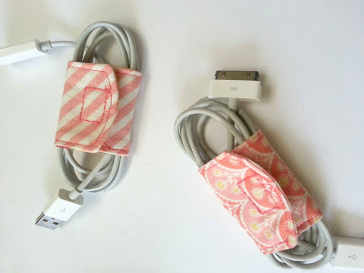 DIY Fabric Scrap Cord Keeper with Easy Velcro Attach