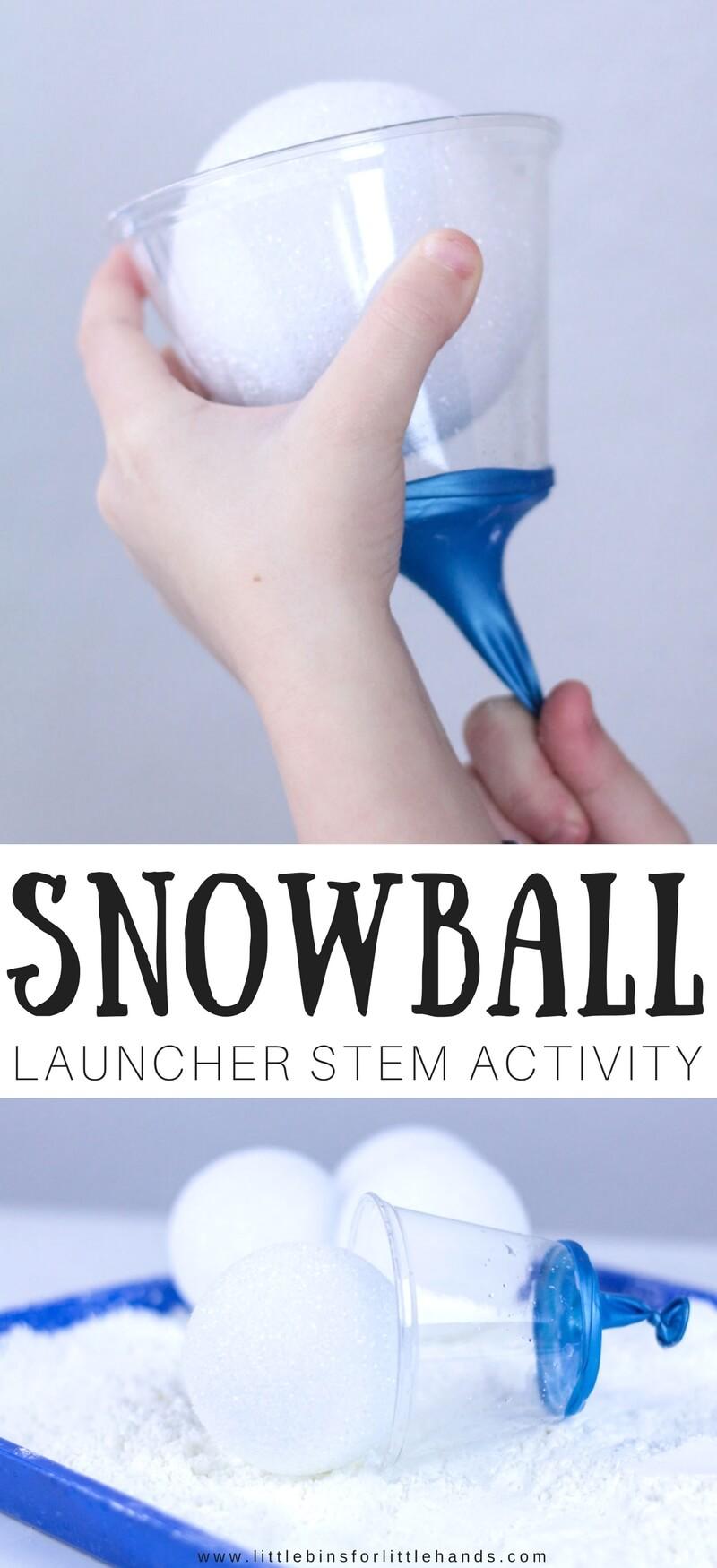 Make Snowball Launcher Winter STEM Activity for Kids