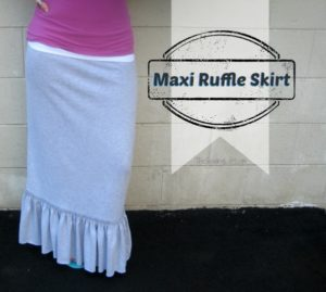 Wonderful Maxi Skirt From Stretchable Cotton Fabric with a Trendy Ruffled Hemline