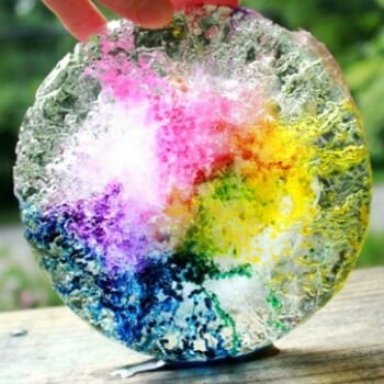 Melting Ice Science Experiment for Kids with Salt & Liquid Watercolors