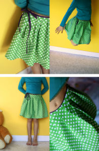 The Pattern-Less Pleated Knee-Length SKirt with a Waist-Tie String