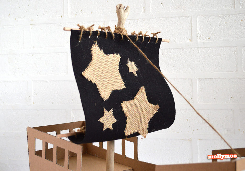 DIY Cardboard Pirate Ship with Starry Sail