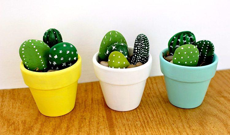 Handprinted Rock Cactus: DIY Classy Room Decor Craft