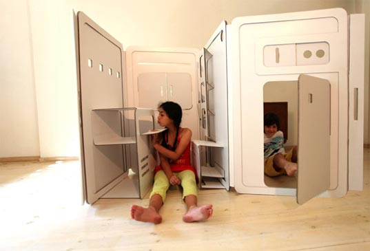 Pop-Up Cardboard Playhouse in Contemporary Form: My Space Craft
