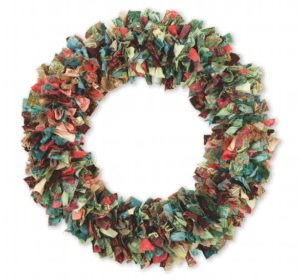 DIY No-Sew Scrap Fabric Wreath on Sturdy Wreath Wire Base