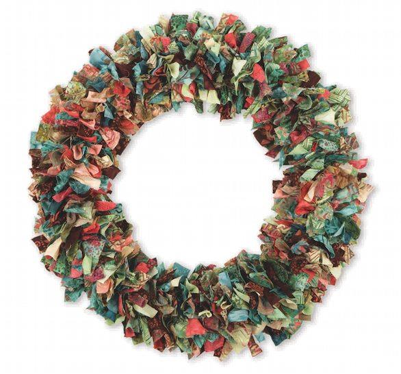 DIY No-Sew Scrap Fabric Wreath on Sturdy Wreath Wire Base