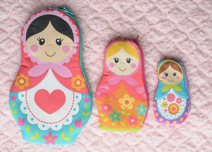 DIY Nesting Doll Zip Pouches in Matryoshka Doll Pattern: A DIY Printed Fabric Craft Project