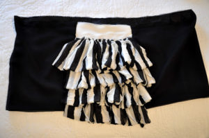 Ruffled Tiered Mini Skirt Tutorial in Vintage Balck & White Shade with an Elastic Waistband