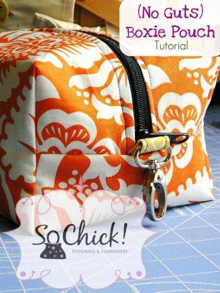 No Guts Boxie Pouch Craft Idea with Free Sew Pattern and Metallic Holding Knob