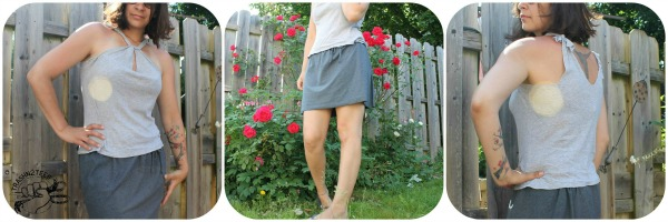 No-Sew Simple Mini Skirt Tutorial from Old T-Shirt with Inside Bottom Hemline Pattern