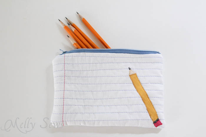 Notebook Paper and Pencil Zipper Pouch Tutorial in Free Sewing Pattern