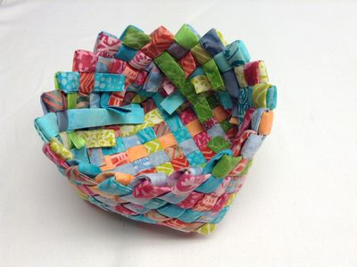 Woven Fabric Basket From Multicolor Scrap Fabric Pieces with Nice Sharp Petal-Sharp Edges