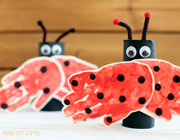 Hand-Printed Lady Bug Craft from Paper Roll and Foam Sheet