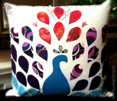 Peacock Pillow Pattern with Fabric Scraps: Enchanted DIY Pillow Makeovers