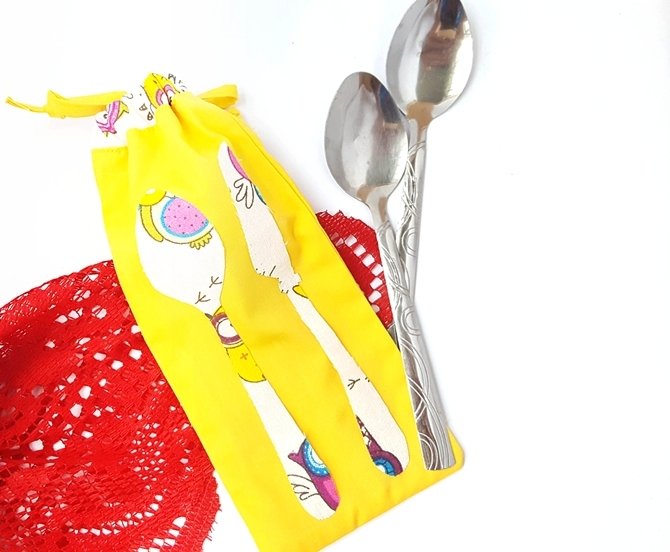 Picnic Utensil Pouch Tutorial- DIY Kitchen Craft from Scrap Fabric Pieces